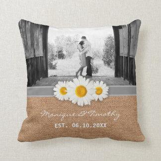 Cinta de la margarita - boda gris y blanco de la cojín decorativo