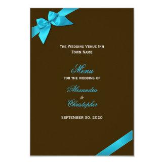 Cinta de la turquesa en menú del boda de Brown Invitación 8,9 X 12,7 Cm