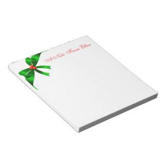 Cinta de satén verde bloc de notas