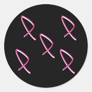 Cinta II del rosa de la conciencia del cáncer de Pegatina Redonda