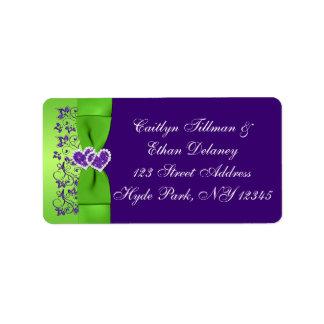 CINTA IMPRESA púrpura, etiqueta de dirección verde