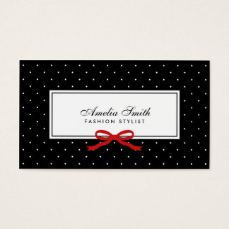 Cinta negra y blanca moderna elegante del rojo del tarjeta de visita