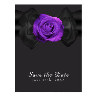 Cinta negra y reserva púrpura del rosa la fecha postal