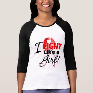 Cinta oral del cáncer - lucho como un chica camisetas