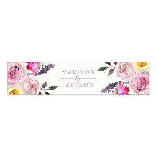 Cinta Para Servilletas Monograma floral del boda de la acuarela color de