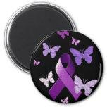 Cinta púrpura de la conciencia imanes para frigoríficos
