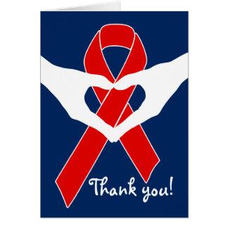 Cinta roja de la conciencia + su mensaje tarjeta de felicitación