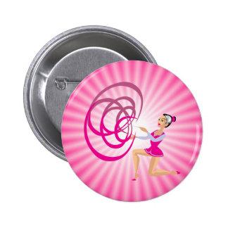 Cinta rosada de la gimnasia rítmica chapa redonda de 5 cm