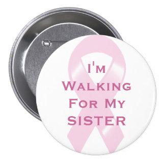 Cinta rosada del KRW que camina para la hermana Chapa Redonda De 7 Cm