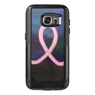 Cinta rosada suave de apoyo del cáncer de pecho funda otterbox para samsung galaxy s7