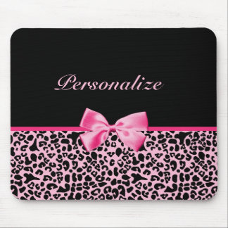 Cinta rosada y negra de moda de las rosas fuertes  alfombrilla de ratón