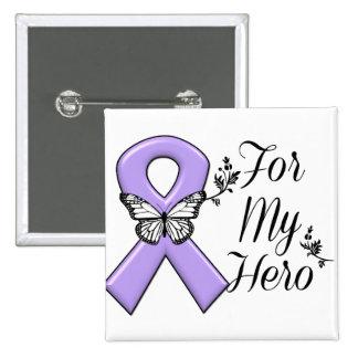 Cinta violeta para mi linfoma de Hodgkins del Chapa Cuadrada 5 Cm