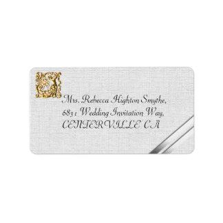 Cintas de plata y boda del oro etiqueta de dirección