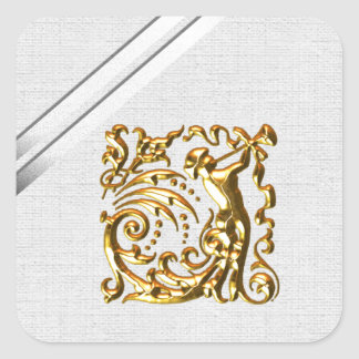 Cintas de plata y boda del oro pegatina cuadrada