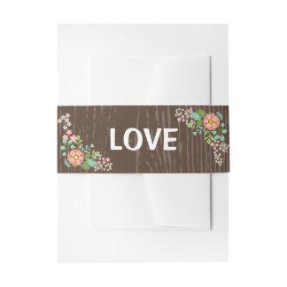 Cintas Para Invitaciones Amor floral de madera de Brown del rosa rústico