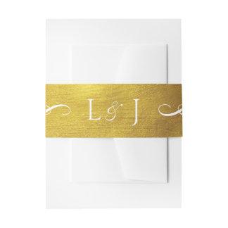 Cintas Para Invitaciones Banda atractiva y elegante del monograma del oro
