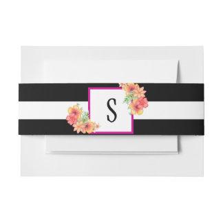 Cintas Para Invitaciones Banda negra y blanca del Belly del sobre floral de
