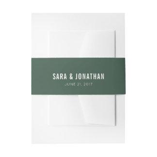 Cintas Para Invitaciones Boda blanco del texto de la verde salvia oscura