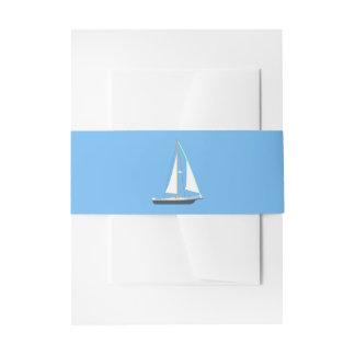Cintas Para Invitaciones Boda de playa azul y blanco náutico del océano del