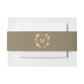 Cintas Para Invitaciones Boda floral del monograma de la guirnalda