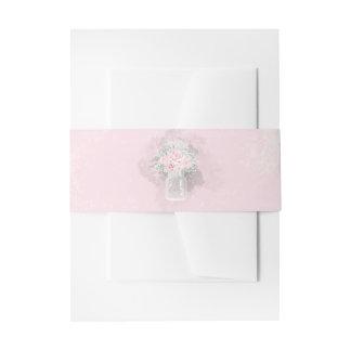 Cintas Para Invitaciones Boda floral del rosa del tarro de albañil y blanco