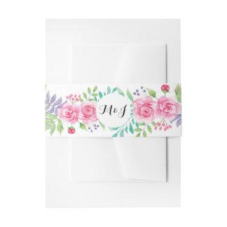 Cintas Para Invitaciones Casar iniciales florales del Watercolour de la