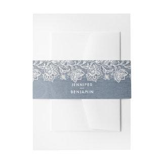 Cintas Para Invitaciones Cordón blanco floral y boda azul polvoriento