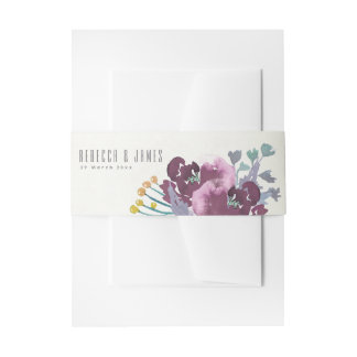 CINTAS PARA INVITACIONES DEEP PURPLE, MONOGRAMA FLORAL DEL WATERCOLOUR AZUL
