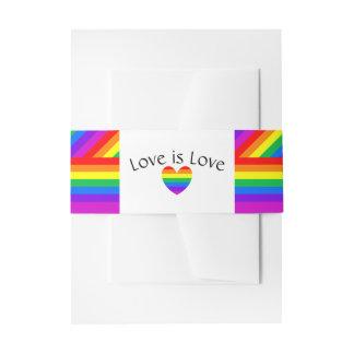 Cintas Para Invitaciones El amor del corazón del arco iris es boda del amor