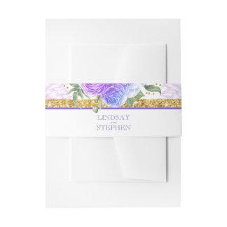 Cintas Para Invitaciones Floral azul y púrpura del brillo del oro del