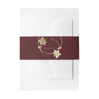 Cintas Para Invitaciones Lux floral de la guirnalda del oro marrón del