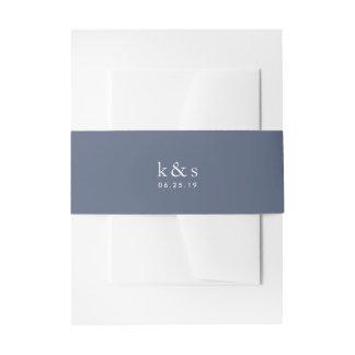 Cintas Para Invitaciones Monograma azul del boda del puerto