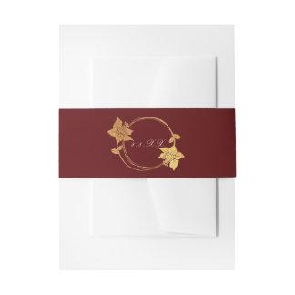 Cintas Para Invitaciones Rojo floral de la guirnalda del oro marrón del