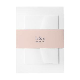 Cintas Para Invitaciones Se ruborizan el rosa y el monograma del boda de la