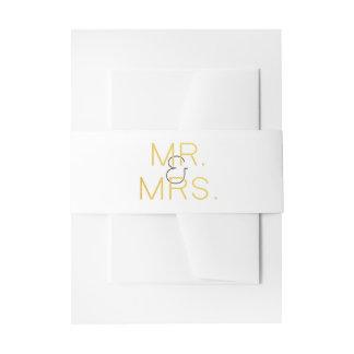 Cintas Para Invitaciones Sr. y señora Gold Elegant Typography Wedding