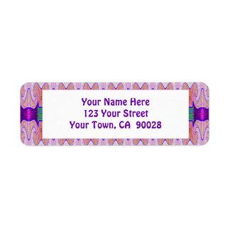 Cintas rosadas púrpuras bonitas etiqueta de remite