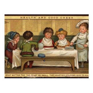 Circa 1880: Una comida en el navidad Postal