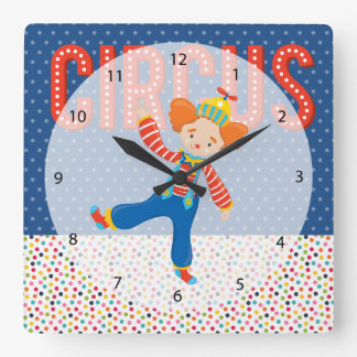 Circo * elija el color de fondo reloj cuadrado