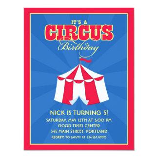 Circo/invitación de la fiesta de cumpleaños del invitación 10,8 x 13,9 cm