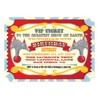 Circo o invitación del cumpleaños del boleto del invitación 12,7 x 17,8 cm