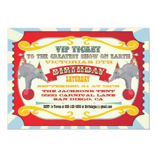 Circo o invitación del cumpleaños del boleto del