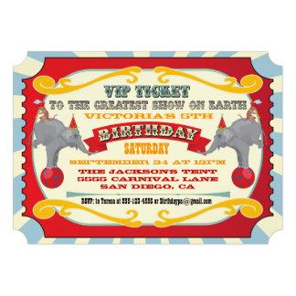 Circo o invitación del cumpleaños del boleto del c