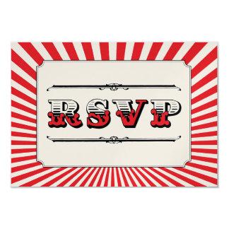 Circo Steampunk RSVP en rojo Invitación 8,9 X 12,7 Cm