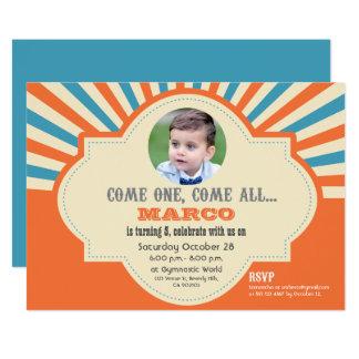 Circo temático, foto de encargo, personalizada invitación 12,7 x 17,8 cm