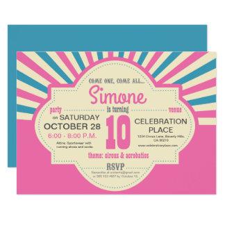 Circo temático, rosado y turquois, personalizados invitación 12,7 x 17,8 cm