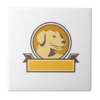 Círculo amarillo de la cabeza del golden retriever azulejo cuadrado pequeño