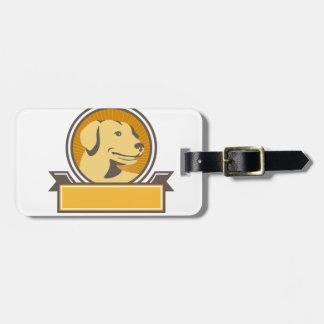 Círculo amarillo de la cabeza del golden retriever etiqueta para maletas