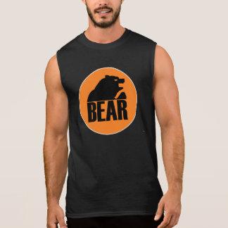 Círculo anaranjado del oso de H S (negro) Camiseta Sin Mangas