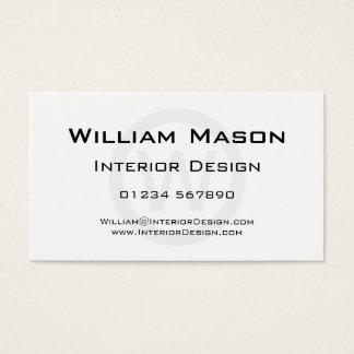 Círculo blanco del monograma - tarjeta de visita