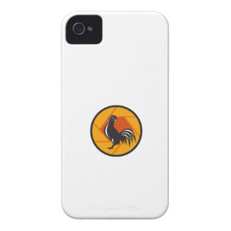 Círculo de cacareo del obturador del gallo retro carcasa para iPhone 4 de Case-Mate